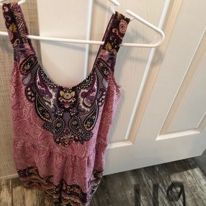 Xhileration zip back paisley boho purple romper S